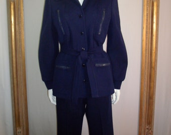 Vintage Early 1970's Butte Knit Navy Blue Wool Blend Pant Set - Size 12