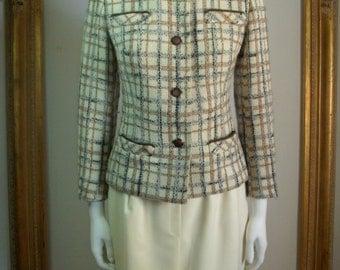 Vintage 1960's Livingston Bros. Multi Colored Plaid Wool Jacket - Size 10