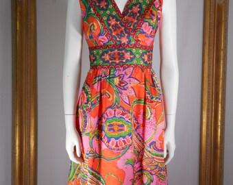 Vintage 1960's Orange & Pink Paisley Dress - Size 8