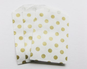 "Set of 10 METALLIC GOLD and White Polka Dot Bitty Bags (2.75"" x 4"")"