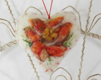 Needle felted heart ornament, brooch, pincushion, wool heart with flowers, ornament, gift tag, shower gift, wedding, lily, orange, yellow