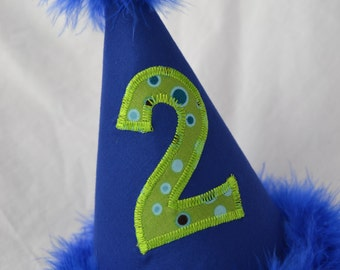2nd Birthday Party Hat Royal Blue and Lime Green