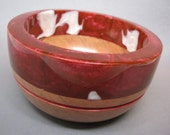 Cherry Wood Bowl with a Dark Red Pearl and White Resin Top