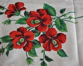 FlowerVintage Red Hibiscus FABRIC Crafts Pillows Tablecloth Flower Material