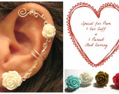 """Special for Prom 1 Cartilage  Ear Cuff & 1 Matching Pierced Stud Rose Earring Wedding Prom Bridal """"Roses are Colorful"""" Helix Conch"""