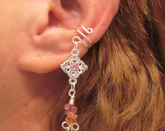 """Cartilage Ear Cuff """"Pink Princess"""" Pinks and Silver Tone Dangle No Piercing Prom"""