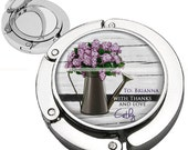 Personalized Watering Can Purple Lilac Flowers Rustic Purse Hook Bag Hanger With Lipstick Compact Mirror