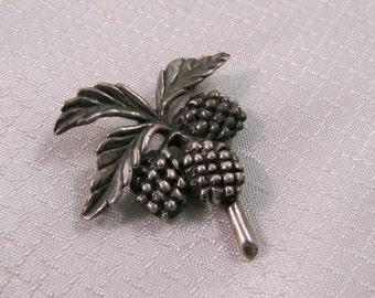 Vintage Sterling Raspberry Brooch, Berries and Leaves