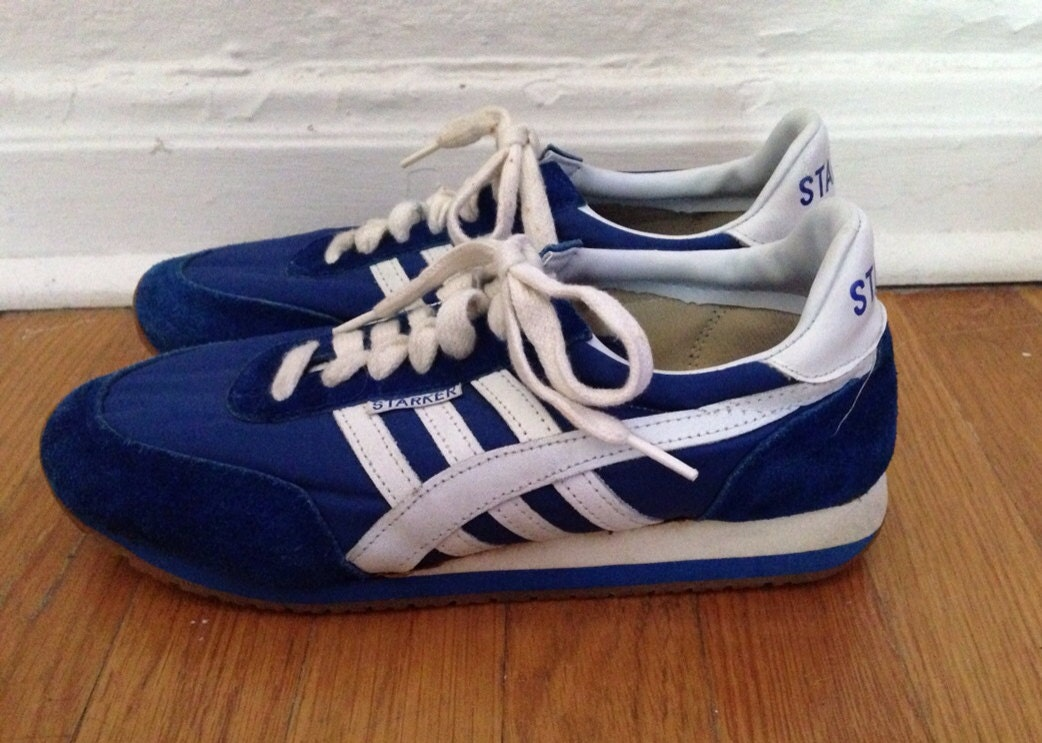vintage 1980s blue and white retro tennis shoes 80s leather