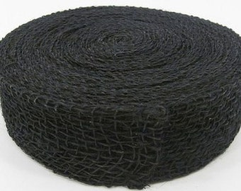 "14-1/2feet (well over 4yds) JUTE Ribbon Jet Black Rope BURLAP 2""Wide (Free Shipping!)"
