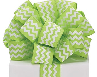 "5YDS x 1-1/2"" Lime Green & White ZIG ZAG Chevron Print Lines Wired Edge Fabric Ribbon"