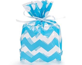 "Small ""BLUE CHEVRON & DOTS"" Print Cello Treat Snack Goodie Bags Cellophane Baggies (Free Shipping!)"