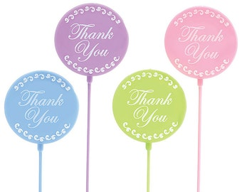 """Assorted """"Thank You"""" Round Floral Plastic Decoration 12"""" PICKS Florist Bouquet Stakes"""