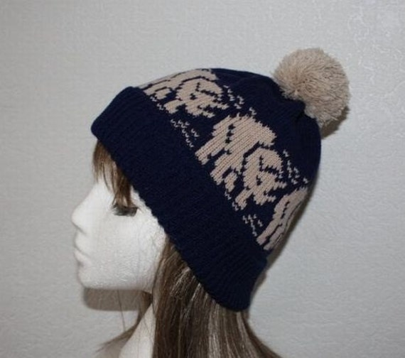 Navy Blue Pompom Hat with Beige Triceratops Dinosaurs