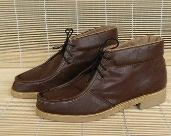 Vintage 1970's Lady's Brown Leather Lace Up Ankle Boots Size EUR 37 / US Woman 6 1/2