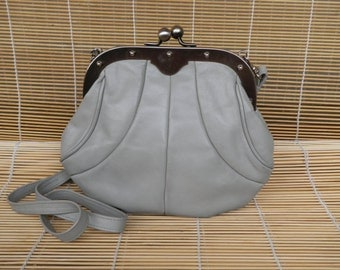Vintage Lady's 1970's Grey Faux Leather Shoulder Strap Bag Evening Bag