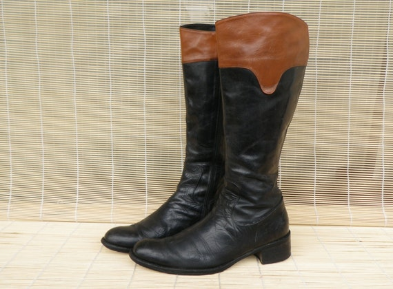 vintage s two tone black and brown leather by