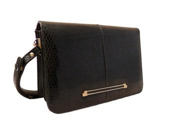 Vintage, Black Leather Handbag, Purse, Shoulder Bag, Tote, Formal