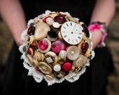 Steampunk Button Bouquet - alternative bridal wedding bouquet
