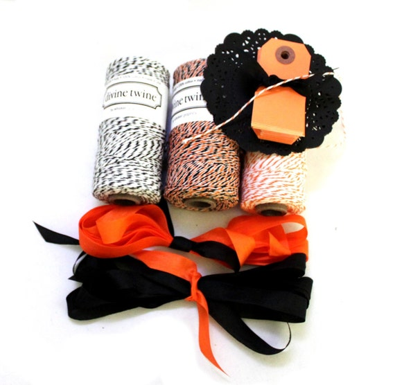 Mini Halloween treat bags kit - enough for 12- twine, black doilies, seam binding, bags, and small orange gift tags