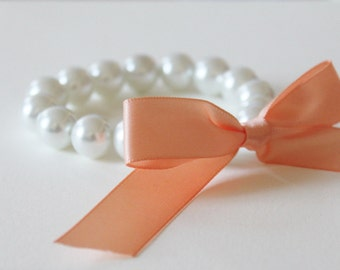 White Pearl and Peach Ribbon Bracelet