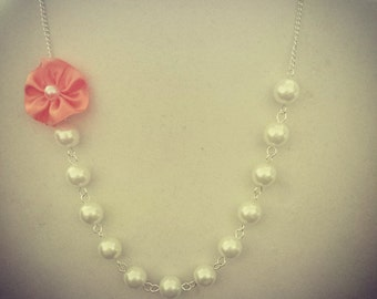 White Pearl and Coral Flower Necklace