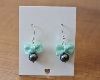 Charcoal Gray Pearl and Mint Green Bow Earrings