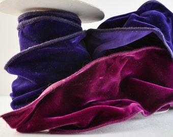 VELVET RIBBON - WIDE (3.75 inches wide) royal purple and wine/burgandy colore