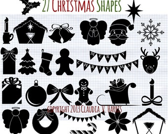 Christmas Clip Art - Silhouette Clipart - Christmas Outlines - Digital Clip Art