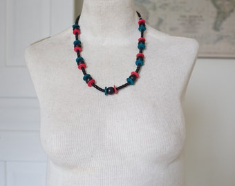 Vintage Wooden Necklace - Aqua Red Black Statement Vintage Necklace Beads