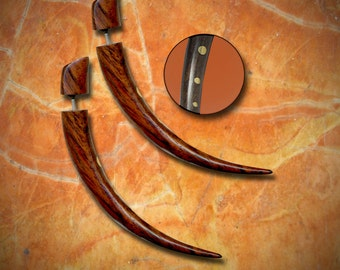 Fake Gauge Earrings - Small Wood Talons with Golden Brass Inlay - W24