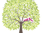 Wedding Guest Book Alternative Print, Wedding Tree Guestbook, Personalized with Your Own Colors, 18x24 (200 Signatures)