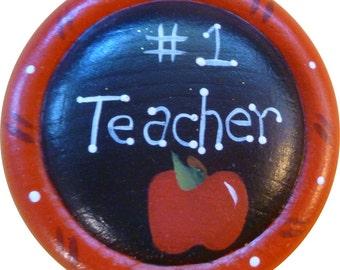 Teacher Button Pin/Magnet Brooch Pin Hand Painted Wood