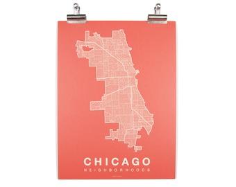 Chicago Neighborhood Map - Cream on Coral