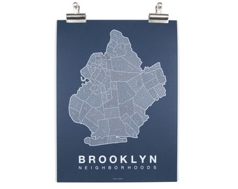 Brooklyn Neighborhood Map - White on Navy