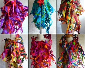 felted wool scarf , handmade, felt, wrap, spiky,holey, lace, lagenlook, blue, red, green, pink. black  MADE TO ORDER
