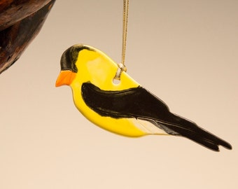 Yellow Finch, clay ornament...