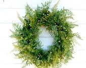 SUMMER FERN & BOXWOOD Door Wreath-Artificial Wreath-Summer Door Wreath-Year Round Wreath-Home Decor- Outdoor Wreath-Scented Vanilla Cinnamon