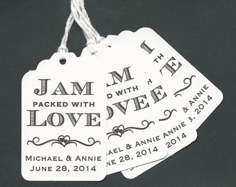 100 JAM packed with Love Personalized Handmade Tags-Wedding Wish Tags-Jam-Honey jar tags-Favor tags