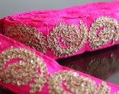 1 Yd-Hot Pink Fabric Embroidered Trim-Silk Sari Border Lace-Floral Leafy Vine Design-Pink Fabric Trim-Crazy Quilt Ribbon Trim By The Yard