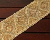2 Yard-White Fabric Trim Wide Trim-Golden Thread Embroidered Hour Glass Design-Crazy Quilt Trims-Designer Silk Sari Fabric Trim By The Yard