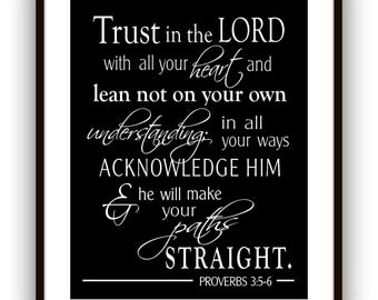 Proverbs 3:5-6 Trust in the Lord with all your heart Typographic Print, Scripture Wall Art, Gift for Graduation, Confirmation gift
