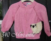 Pink Sheep Sweater Size 6 to 12 Months Hand Knitted Acrylic Yarn