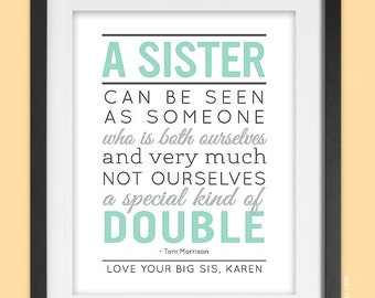 Personalized Gift for Sister, 8x10 Sisters Quote Art Print with name, sisters wall art, in mint & gray, Toni Morrison quote, UNFRAMED