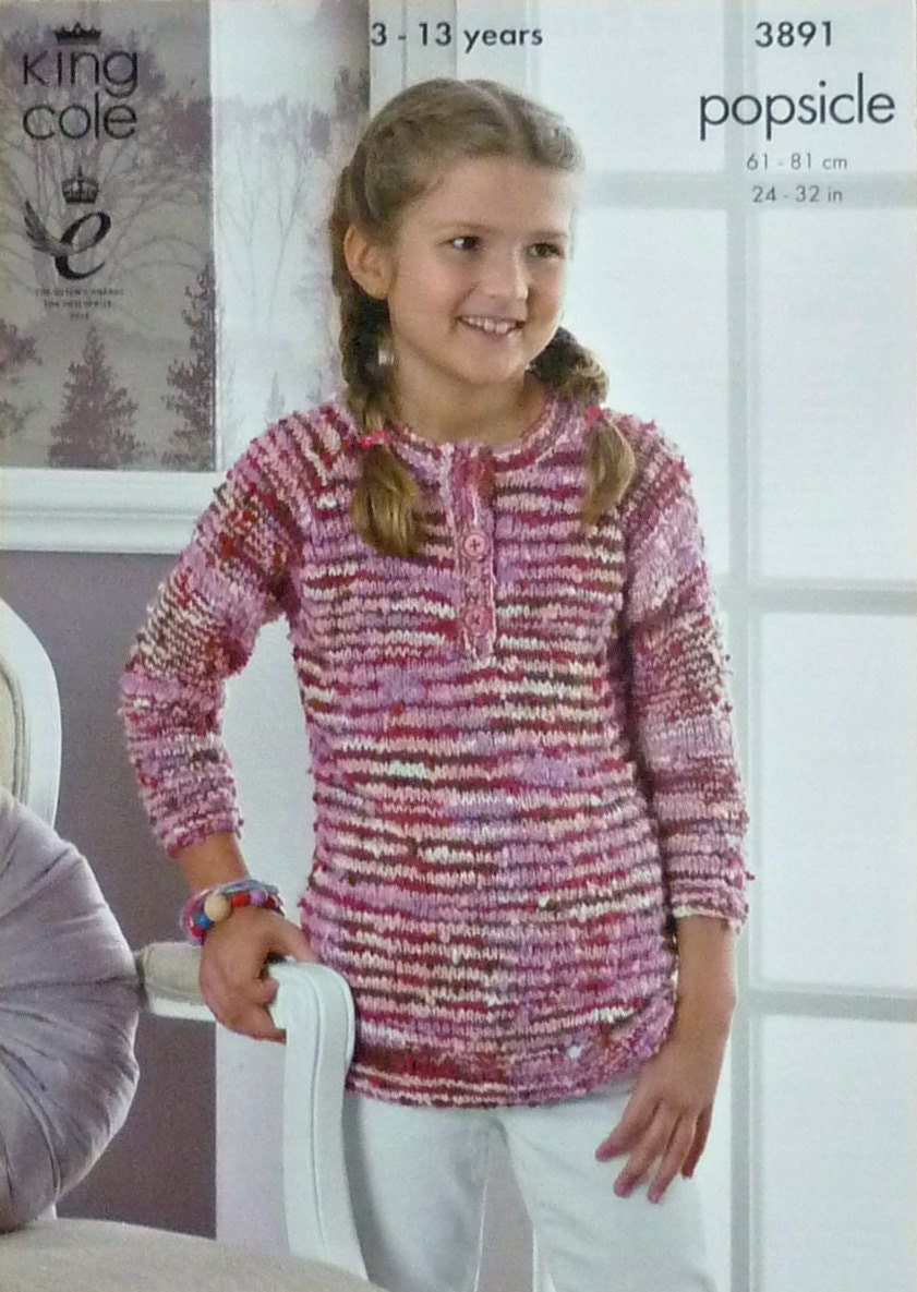 Girls Knitting Pattern K3891 Childrens 3/4 Sleeve Button ...
