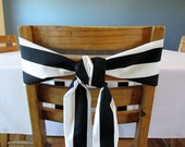 "Black and White Stripe Chair Sash 5.5"" x 84"""