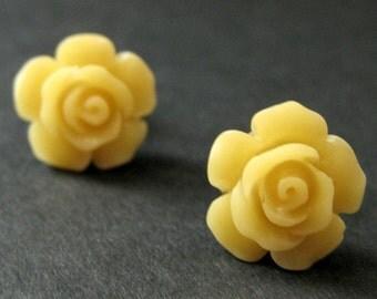 Canary Yellow Flower Earrings. Yellow Earrings. Gardenia Flower Earrings. Bronze Post Earrings. Yellow Rose Earrings. Handmade Earrings.