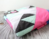 Vintage Retro Bright Patterned Fabric Blanket