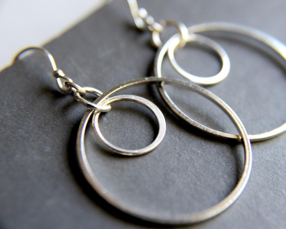 simple double hoop earrings sterling silver jewelry. Black Bedroom Furniture Sets. Home Design Ideas