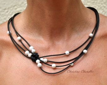 Pearl and Leather Jewelry -  Black & White Reef Knot Necklace - Pearl and Leather Jewelry Collection
